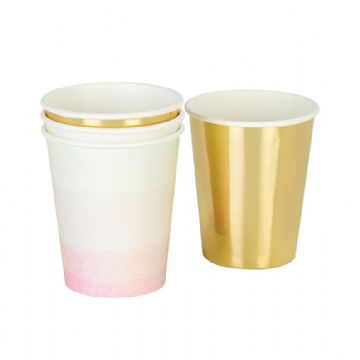 """We Heart Pink"", Pink & Gold Party Cups - Pack of 12"